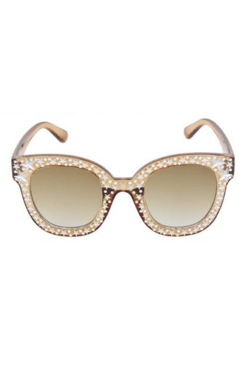 Kiss Eyewear Kat Large Frame Star Embellished Sunglasses in Coffee Crystal