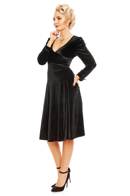 Dolly & Dotty Katherine Long Sleeve Swing Dress in Black Velvet