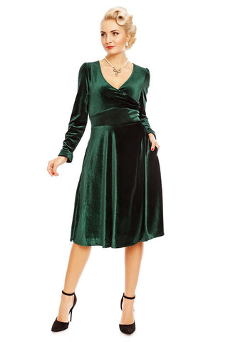 Dolly & Dotty Katherine Long Sleeve Swing Dress in Green Velvet