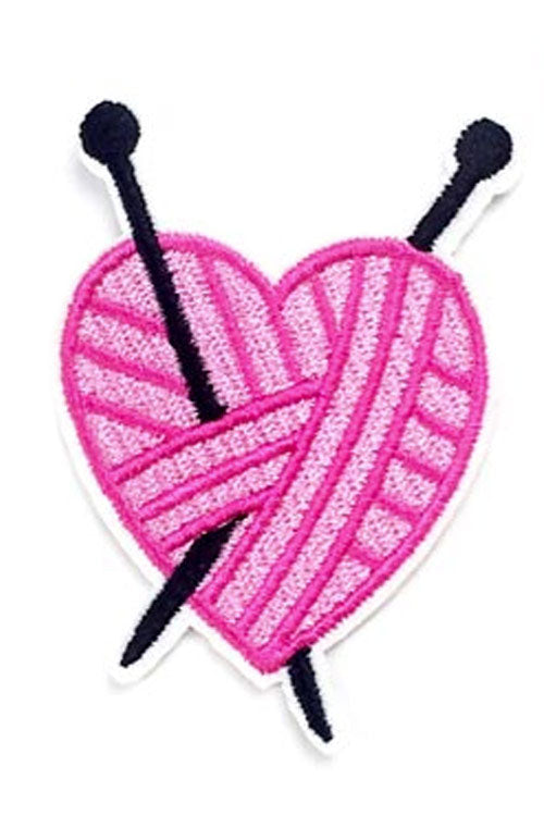 Kitty Deluxe Iron on Patch of Knitted Heart