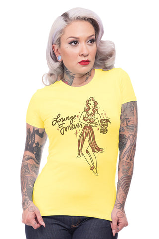 Steady Clothing Ladies 'Lounge Forever' T-Shirt in Yellow