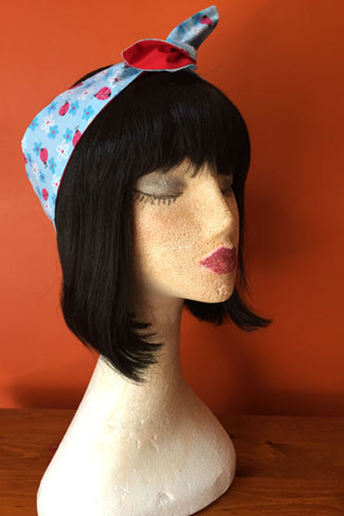 Reversible Wired Headband in Ladybird Print & Red