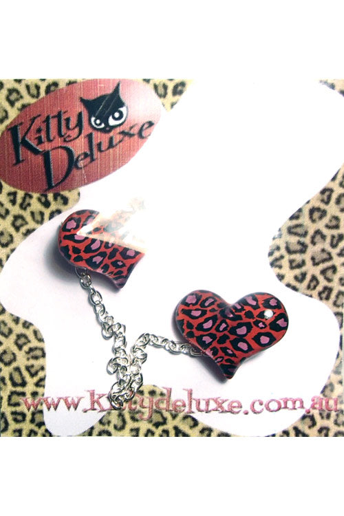Kitty Deluxe Cardigan Clips in Red Leopard Heart Design