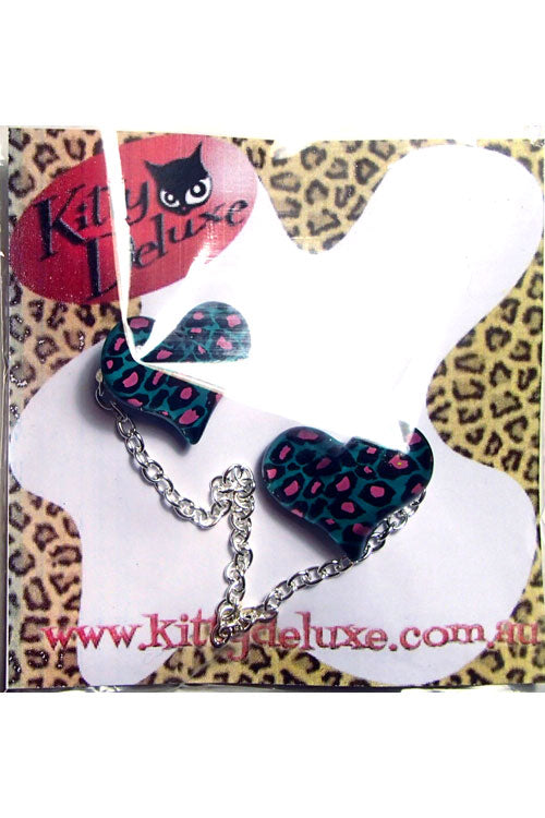 Kitty Deluxe Cardigan Clips in Teal Leopard Heart Design