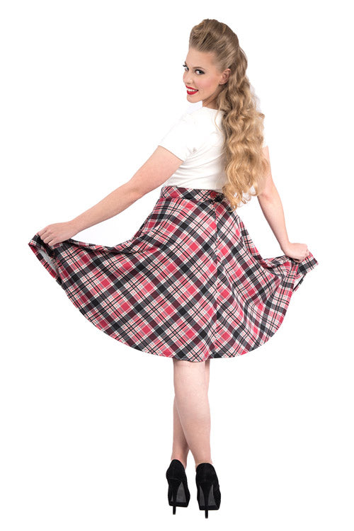 e4709665b ... Steady Clothing Leona Pocket High Waist Thrills Skirt in Black/Pink  Tartan ...
