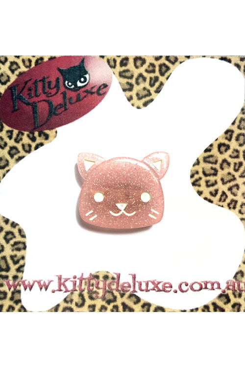 Kitty Deluxe Broochlette Brooch in Light Pink Glitter Kitty