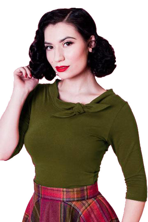 Heart of Haute Lily Top in Olive Green