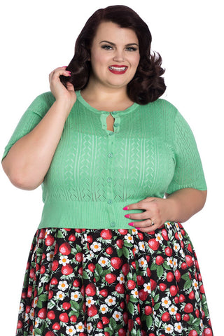 Hell Bunny Loretta Cardigan in Green, Pointelle Style Knit