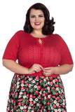 Hell Bunny Loretta Cardigan in Red, Pointelle Style Knit