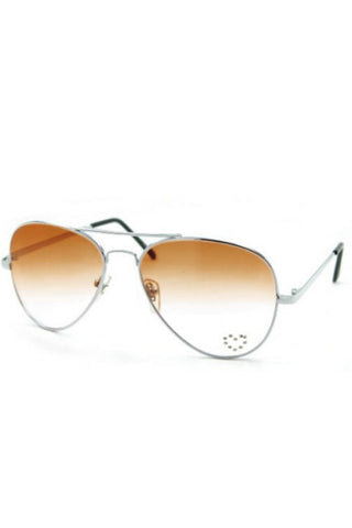 Kiss Eyewear Aviator Metal Frame Sunglasses Bronze Lens and Rhinestone Heart