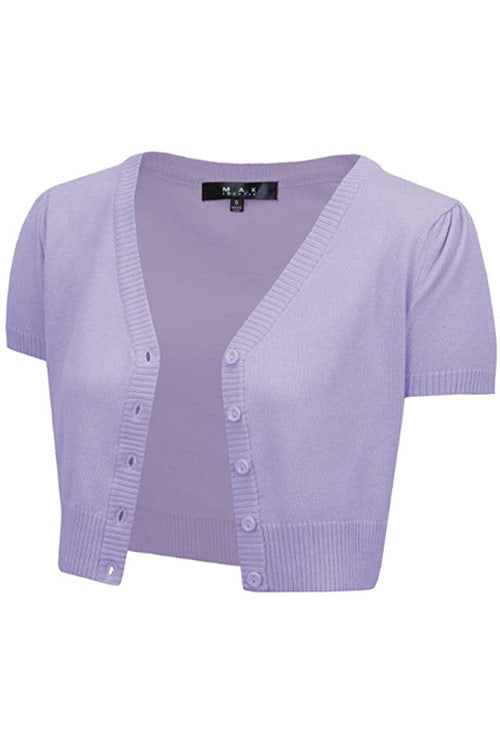 MAK Sweaters Cropped Cardigan with Short Sleeves in Lilac