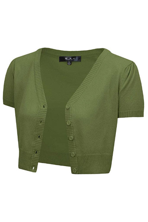 MAK Sweaters Cropped Cardigan with Short Sleeves in Sage