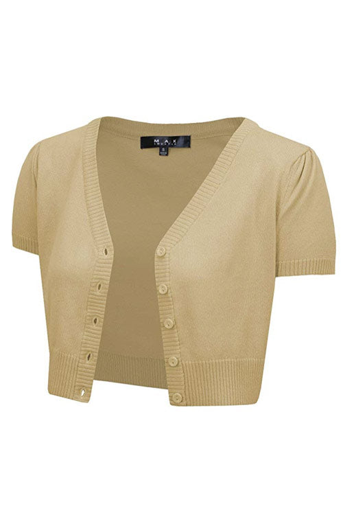 MAK Sweaters Cropped Cardigan with Short Sleeves in Sand / Taupe
