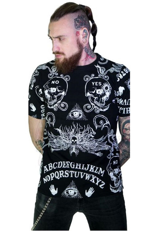 Dr Faust Mens Black T-Shirt in Mack Ouija Board