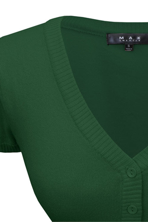 MAK Sweaters Cropped Cardigan with Short Sleeves in Hunter Green