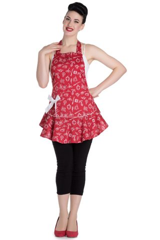 Hell Bunny Marin Apron / Pinny in Red