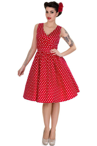 Dolly & Dotty May Swing Dress in Red Polkadot