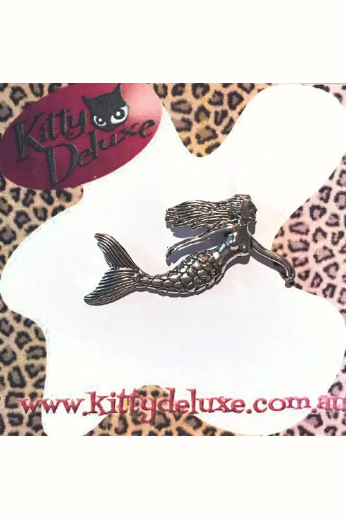 Kitty Deluxe Broochlette Brooch in Silver Mermaid