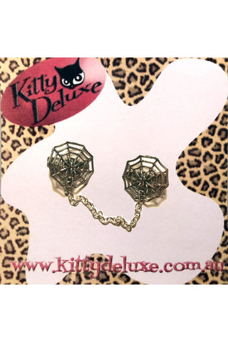 Kitty Deluxe Cardigan Clips in Metal Web Design