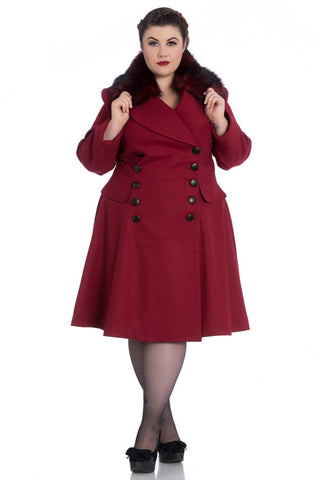 Hell Bunny Milan Coat in Red (Removable Fur)