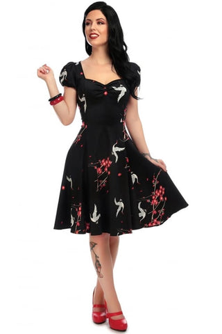 Collectif Mimi Doll Dress in Cranes and Blossom