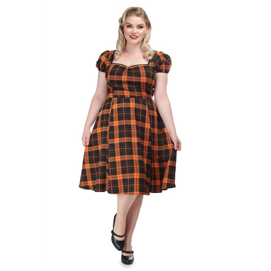 Collectif Mimi Doll Dress in Pumpkin Check