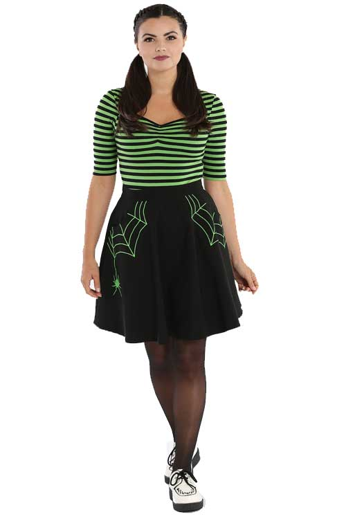 Hell Bunny Miss Muffet Skater Skirt with Green Details