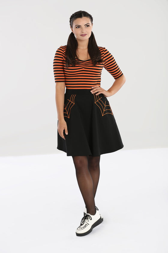 Hell Bunny Miss Muffet Skater Skirt with Orange Details