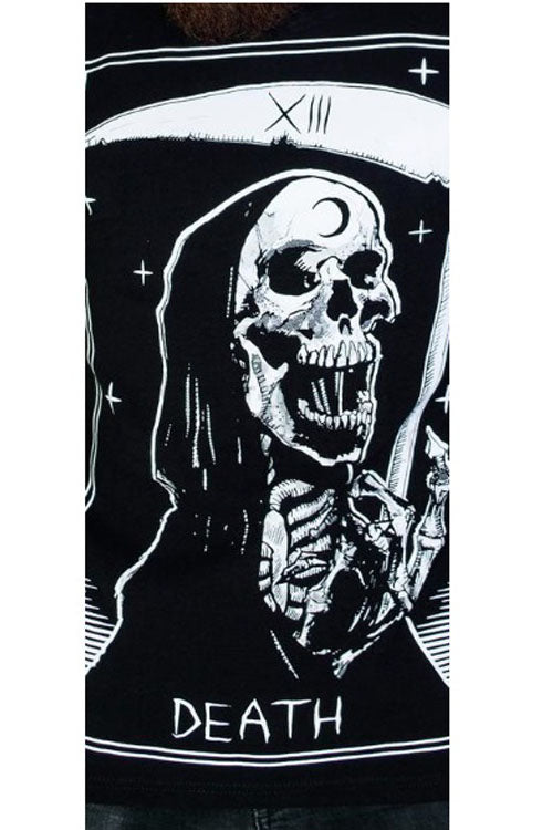 Dr Faust Mens Black T-Shirt in Morte Death Tarot