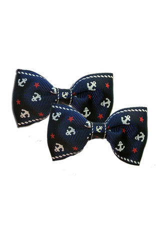 Nautical Bow Pair in Navy Blue - SOLD OUT