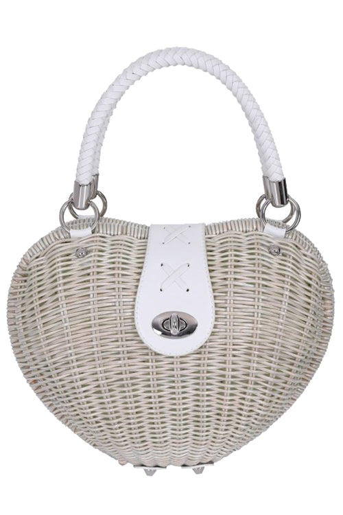 Banned Nikki Wicker Heart Bag in White/Natural
