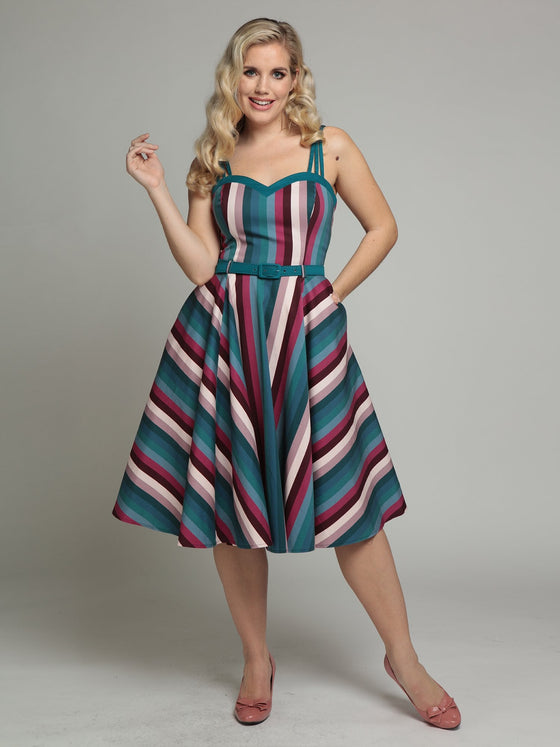 Collectif Nova Swing Dress in Paradise Stripe