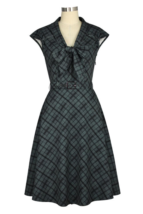 Chicstar Olsen 50's Dress with Pussybow Collar in Grey