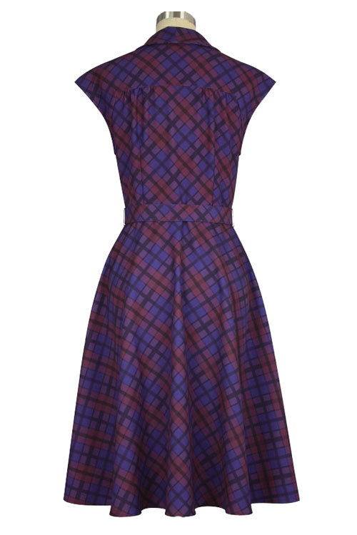 Chicstar Olsen 50's Dress with Pussybow Collar in Purple