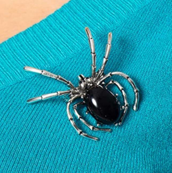 Banned Onyx Bliss Spider Brooch