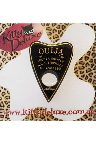 Kitty Deluxe Broochlette Brooch in Black/Green Sparkle Ouija Planchette