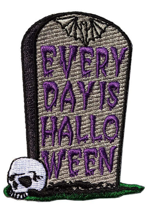 Kreepsville 666 Iron on Patch of Every Day is Halloween Tombstone