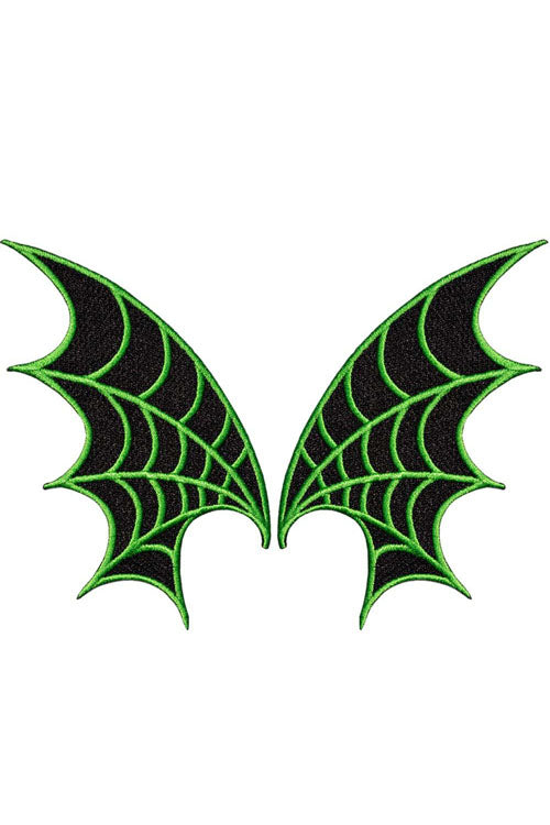 Kreepsville 666 Iron on Patch of Web Wing Pair in Green
