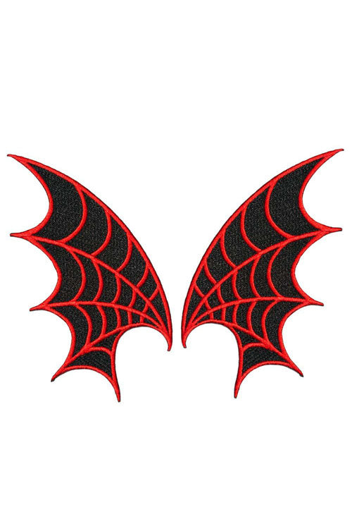 Kreepsville 666 Iron on Patch of Web Wing Pair in Red
