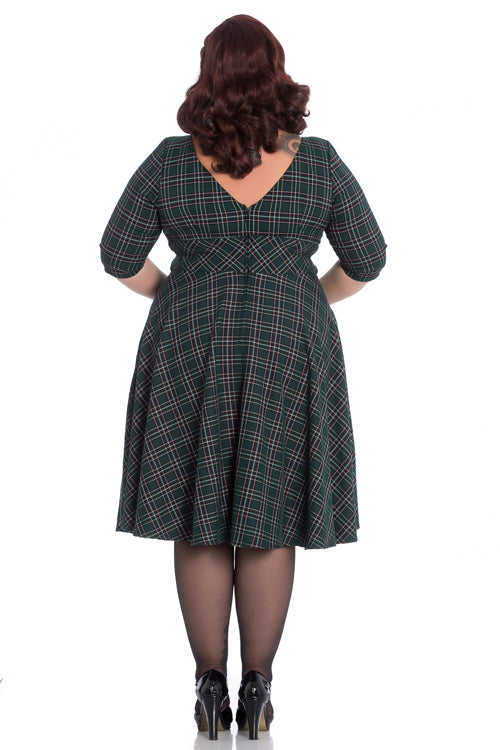 Hell Bunny Peebles 50's Dress in Green