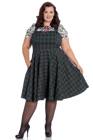 Hell Bunny Peebles Pinafore Dress in Green