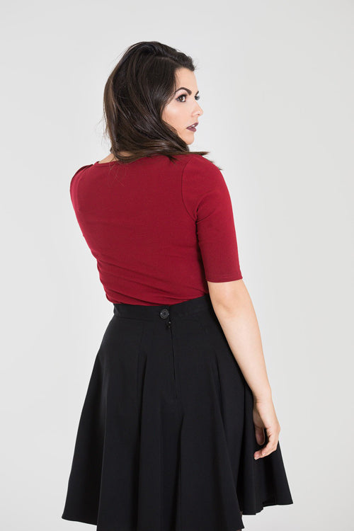 Hell Bunny Philippa Top in Burgundy