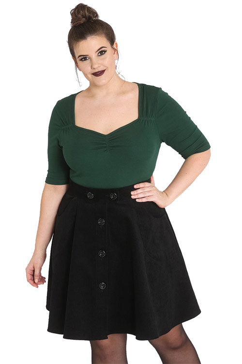 Hell Bunny Philippa Top in Dark Green