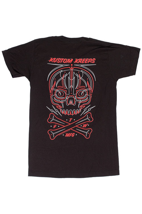 Kustom Kreeps Mens Pinstriped Skull T-Shirt