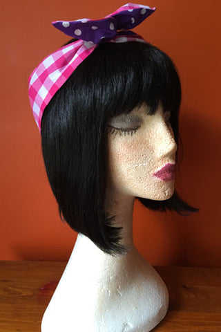 Reversible Wired Headband in Pink Gingham Print & Purple Polka Dot Print
