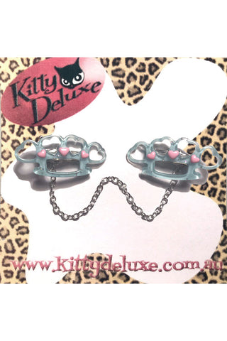 Kitty Deluxe Cardigan Clips in Blue Pretty Punchy Knuckleduster Design