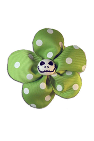 Krazy Daisy in Green with White Polka Dots