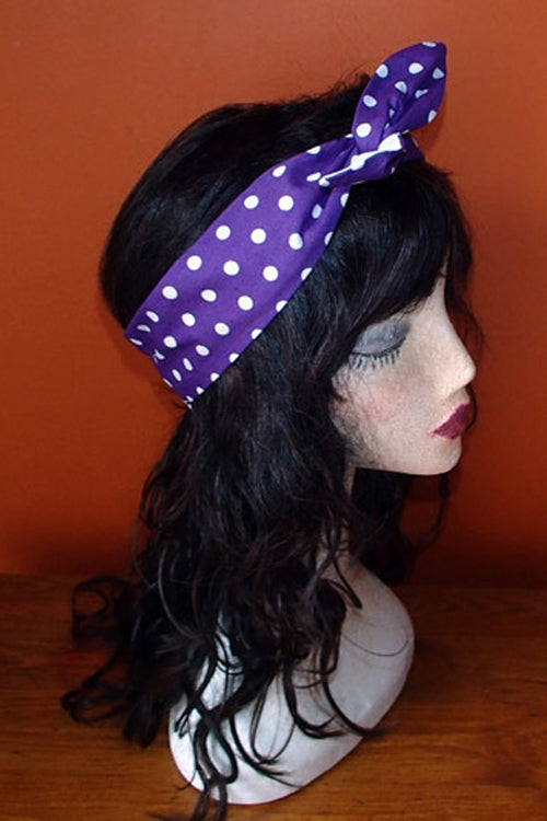 Reversible Wired Headband in Purple Polka Dot Print & White