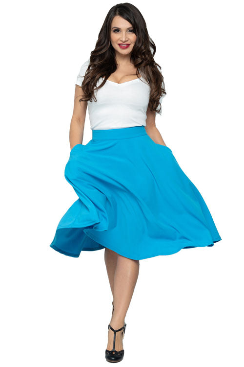 Steady High-Waisted Thrills Skirt with Pockets in Turquoise