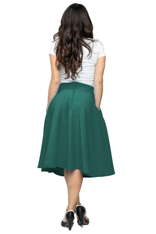 Steady High-Waisted Thrills Skirt with Pockets in Jade Green